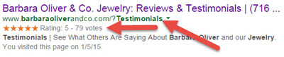 Testimonials page search results in Google