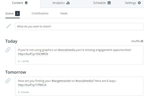 Buffer posts scheduled to social media