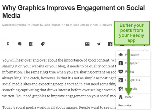 Share on Buffer from your Feedly app