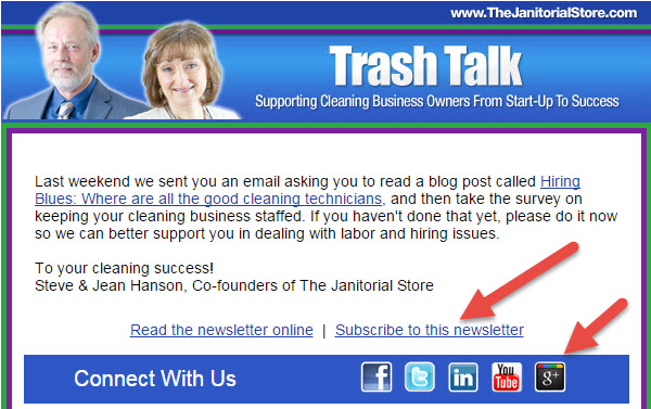 Subscribe link in email newsletter