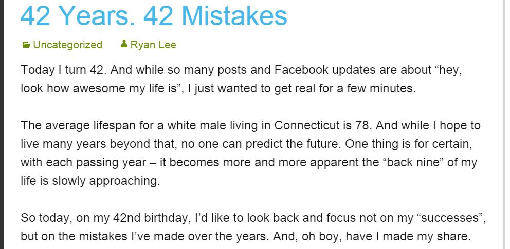 Ryan Lee blog exerpt