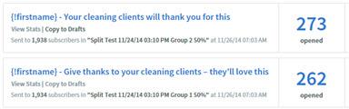 Email Marketing Split Test Example