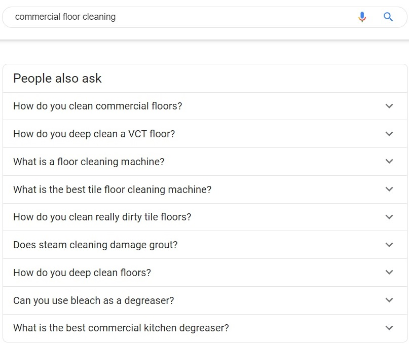Commercial Floor cleaning people also ask, content creation, blogging ideas for cleaning businesses