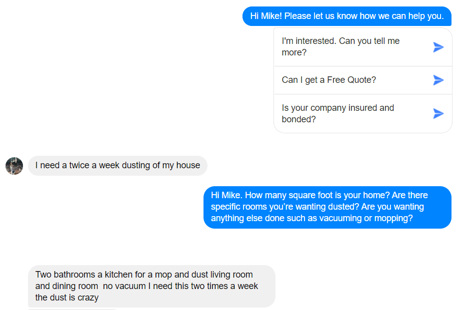 how to follow up with cleaning leads on facebook messenger
