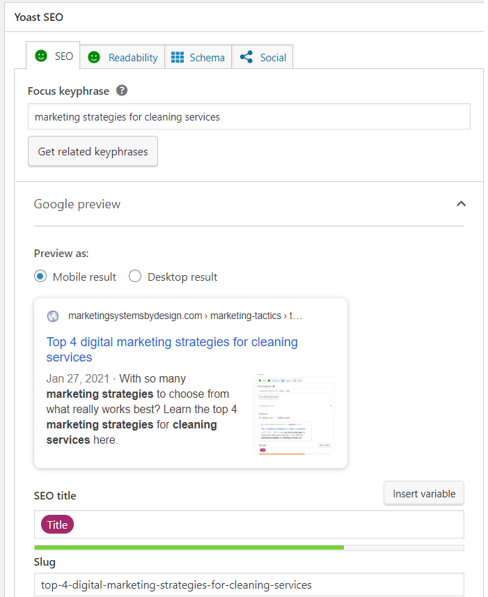 use yoast seo for an on-site SEO marketing strategy