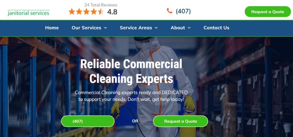 commercial cleaning services landing page for a cleaning company website