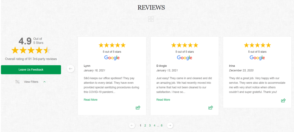 using positive reviews to improve conversion rates while advertising a cleaning business