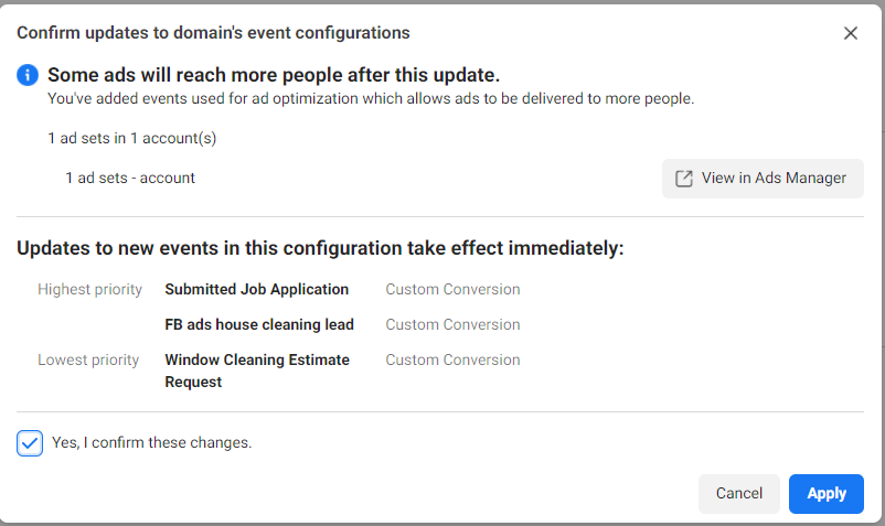 setting conversion priority on Facebook advertising for a cleaning business