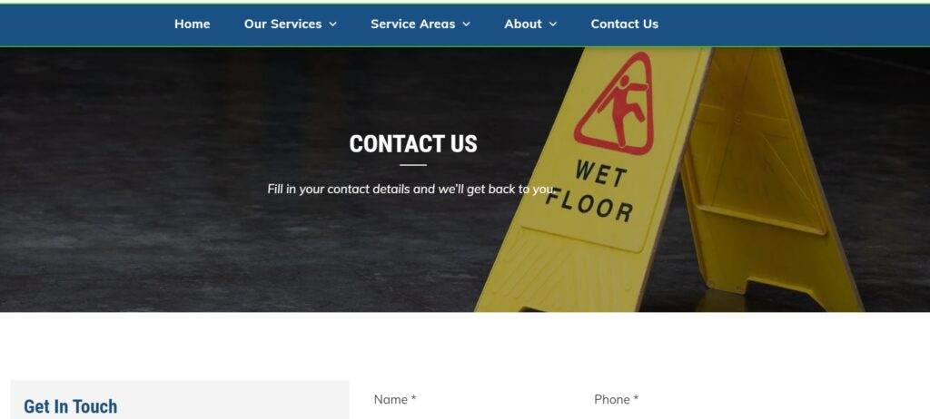 have a contact us page on your commercial cleaning website